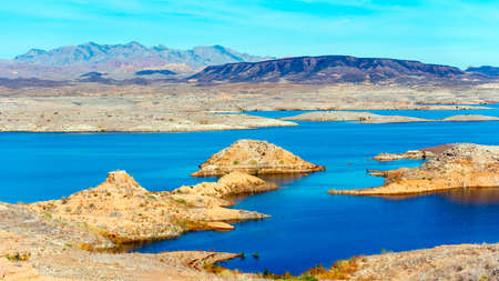 Lake Mead in desert area, Nevada, USA Stock Photo