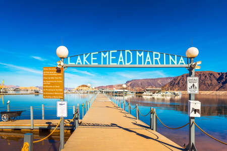 Pier on the lake Mead, Nevada, USA. Copy space for text Imagens