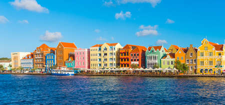 WILLEMSTAD, NETHERLANDS - JANUARY 23, 2018: View of downtown. Copy space for text