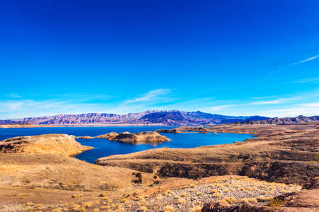 Lake Mead and desert area, Nevada, USA. Copy space for text Stock Photo
