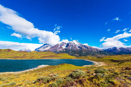 Lake Pehoe, Torres del Paine National Park, Patagonia, Chile, South America. Copy space for text 版權商用圖片