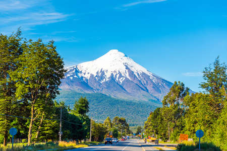 PUERTO VARAS, CHILE - JANUARY 11, 2018: Volcano Osorno in national park Vicente Perez Rosales. Copy space for text