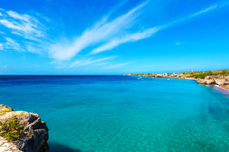 View of the coastline, Westpunt, Curacao, Netherlands. Copy space for text