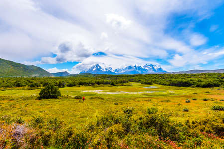 View of the mountain landscape in the national park Torres del Paine, Patagonia, Chile, South America. Copy space for text 版權商用圖片