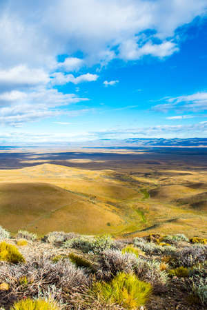 View of the panoramic landscape of Patagonia, Argentina, South America. Vertical