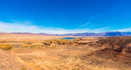 Lake Mead and desert area, Nevada, USA. Copy space for text