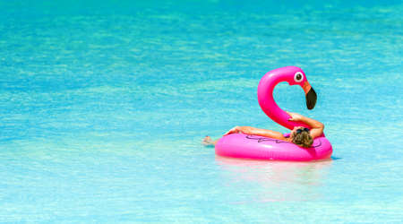 Pink flamingo, Boracay, Philippines. Copy space for text