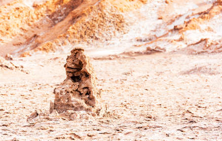 Sand sculpture in Moon Valley, Chile. With selective focus