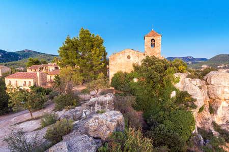 View of the Romanesque church of Santa Maria de Siurana, Tarragona, Catalunya, Spain. Copy space for text Stock Photo