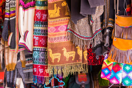 Colored scarves and bags in the local market in San Pedro de Atacama, Chile. With selective focus Stockfoto