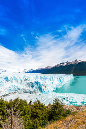 View of the Perito Moreno Glacier, Patagonia, Argentina. Vertical. Copy space for text Reklamní fotografie