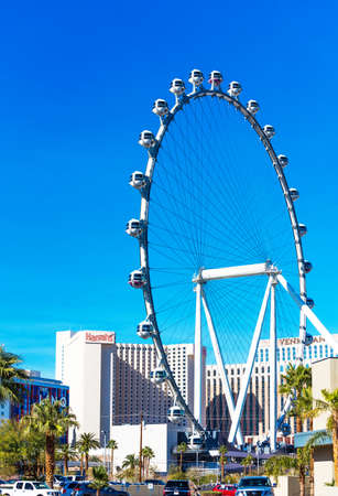 View of the ferris wheel High Roller, Las Vegas, Nevada, USA. Copy space for text. Vertical. Editorial