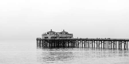 Malibu pier in Southern California, Pacific Coast, USA. View on the Pacific Ocean. Copy space for text