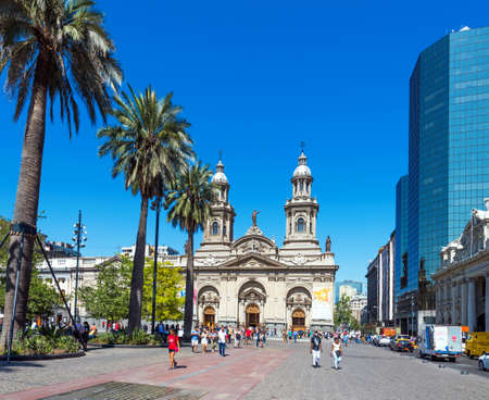 SANTIAGO, CHILE - JANUARY 10, 2018: View of the city cathedral. Copy space for text