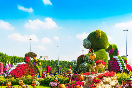 DUBAI, UNITED ARAB EMIRATES - DECEMBER 13, 2018: Figures from flowers in Dubai Miracle Garden Editorial