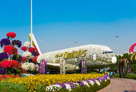 DUBAI, UNITED ARAB EMIRATES - DECEMBER 13, 2018: View of the plane from the flowers in Dubai Miracle Garden