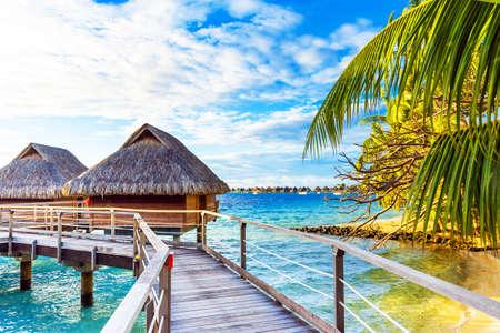 View of the sandy beach, Bora Bora, French Polynesia