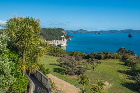 View of the coastline, Coromandel Peninsula, North Island, New Zealand. Copy space for text