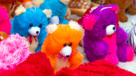 Teddy bears in the local market, Puttaparthi, India. Close-up