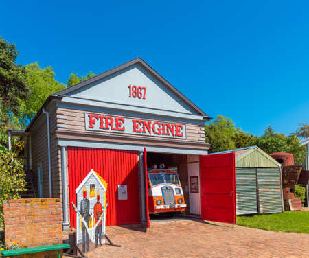 Retro fire station, Founders Park, Nelson, New Zealand Banque d'images - 130511575