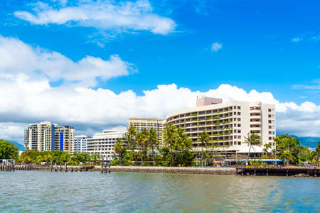 View of the city promenade, Cairns, Australia. Copy space for text