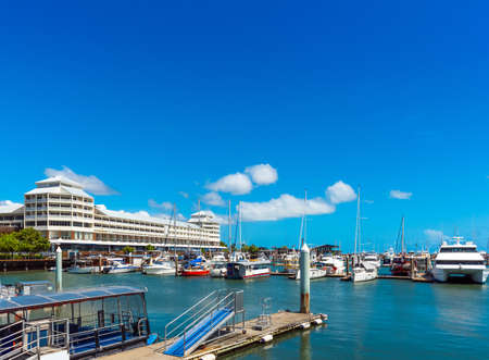 Port in Cairns, Australia. Copy space for text
