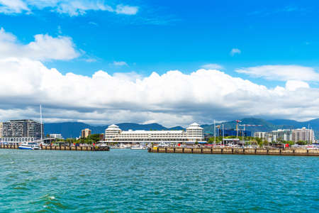 CAIRNS, AUSTRALIA - NOVEMBER 11, 2018: View of the city port. Copy space for text