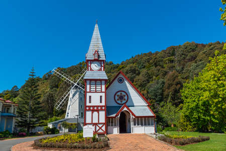 Wooden Church in Founders Park, New Zealand Stok Fotoğraf