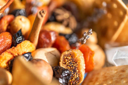 Bouquet of dried fruits. Close-up
