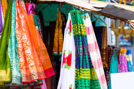 Indian sari in the local market, Puttaparthi, India. With selective focus Stockfoto