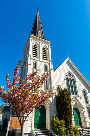 Wooden church, Nelson, New Zealand. Vertical Stok Fotoğraf