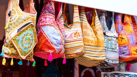 Indian bags at local market, Puttaparthi, India. With selective focus