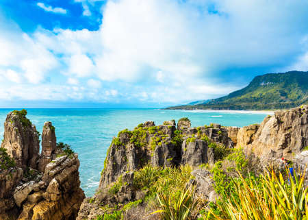 View of pancake rocks in Punakaiki, South island, New Zealand