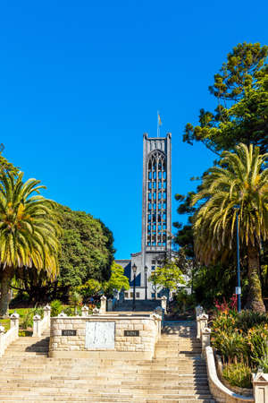 NELSON, NEW ZEALAND - OCTOBER 16, 2018: The Bell Tower of the Christ Church Cathedral, an Anglican church. Vertical
