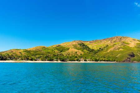 Paisaje tropical de la isla, Fiji. Copiar espacio para texto Foto de archivo