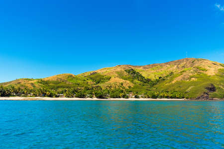 Tropical landscape of the island, Fiji. Copy space for text Stock Photo