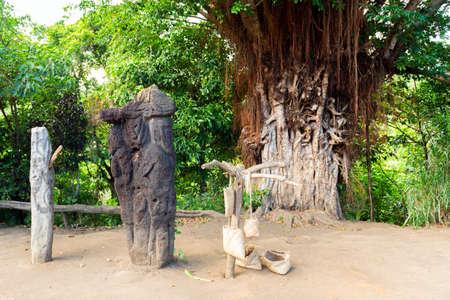 Stone statue in the village of Yakel, Tanna Island, Vanuatu.