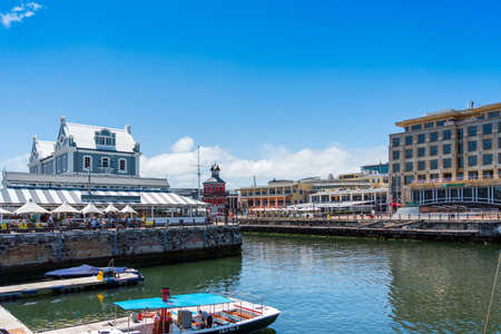 Cape Town, South Africa - January 29, 2020: Buildings on the waterfront of Victoria & Alfred. Copy space for text