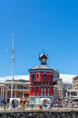 Cape Town, South Africa - January 29, 2020: The Clock Tower in the Victoria and Alfred Waterfront. Verical. Copy space for text