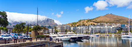Cape Town, South Africa - January 29, 2020: Boats on the waterfront Victoria & Alfred Waterfront in the city center Editorial