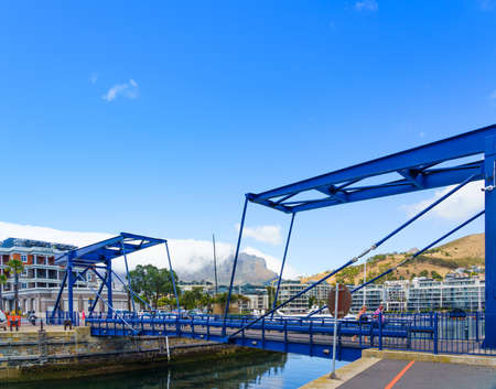 Cape Town, South Africa - January 29, 2020: Bridge on the Victoria & Alfred waterfront. Copy space for text