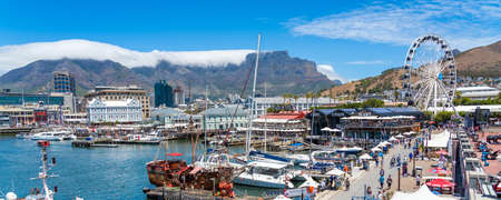 Cape Town, South Africa - January 29, 2020: Table Mountain at the Victoria & Alfred Waterfront. Copy space for text