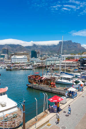 Cape Town, South Africa - January 29, 2020: Table Mountain at the Victoria & Alfred Waterfront. Copy space for text. Vertical