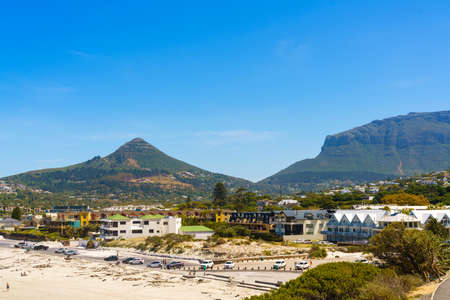 Cape Town, South Africa - January 28, 2020: View of Hout Bay Beach. Copy space for text