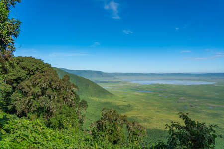 View over Ngorongoro Conservation Area. Ngorongoro Crater is a large volcanic caldera and a wildlife reserve. Standard-Bild