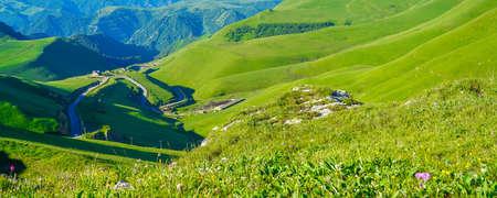 A Beautiful Meadow Landscape of Caucasus Mountains, Elbrus Region Stock Photo