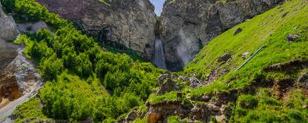 The Sultan Waterfall on the Kyzyl-Su River. Elbrus, Kabardino-Balkaria, Russia on a Summer Day, panorama Stock Photo