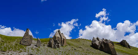 Rock Landscape at the Elbrus Region, with cloudy Sky, Panorama