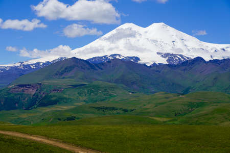 Panorama Road Leading To Mount Elbrus In Summer.
