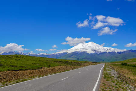 Panorama Road Leading to Mount Elbrus
